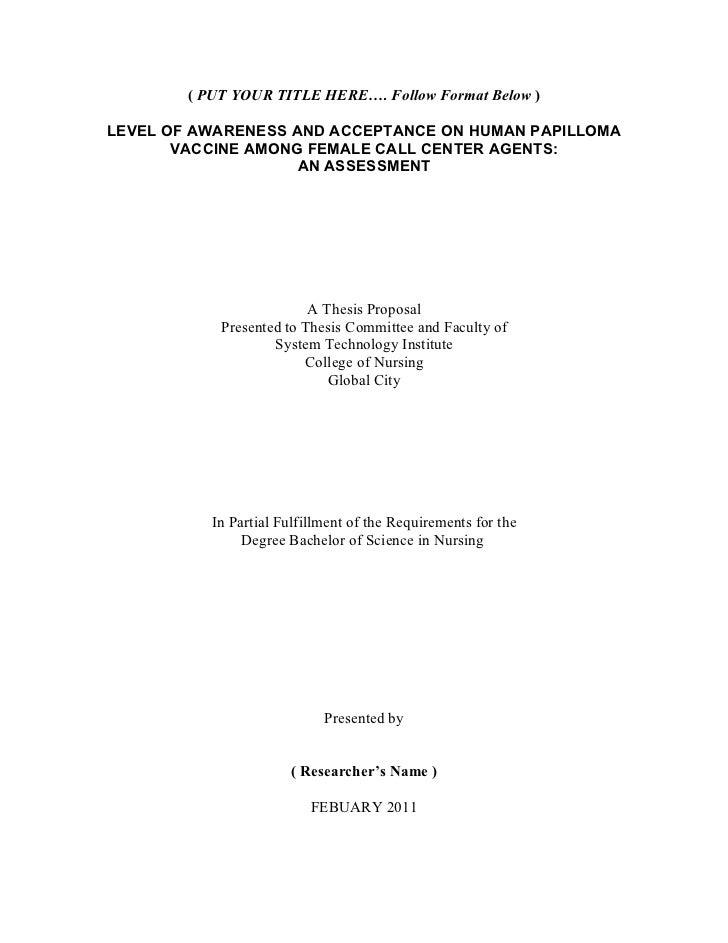 Nursing Thesis Proposal Format