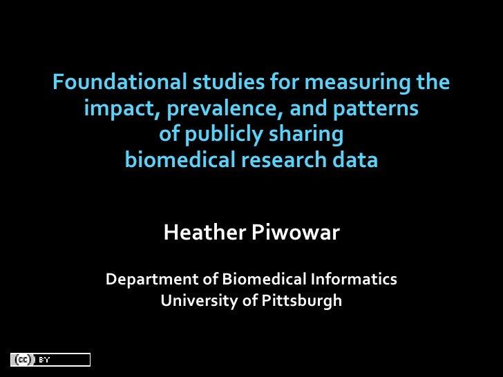 Foundationalstudiesformeasuringthe    impact,prevalence,andpatterns           ofpubliclysharing       biomedic...