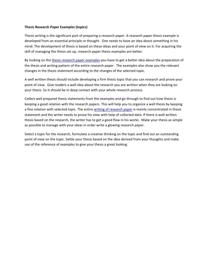 Thesis of research paper