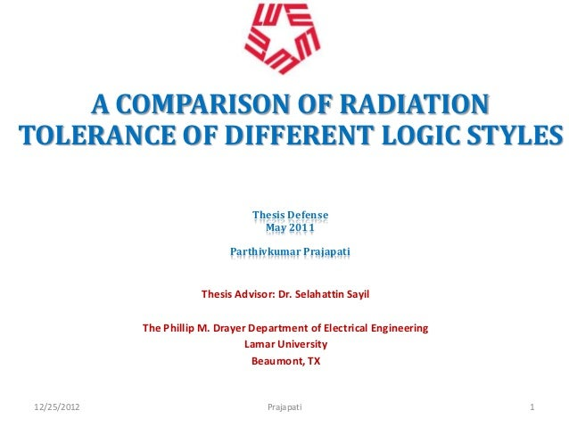 A COMPARISON OF RADIATIONTOLERANCE OF DIFFERENT LOGIC STYLES                                    Thesis Defense            ...