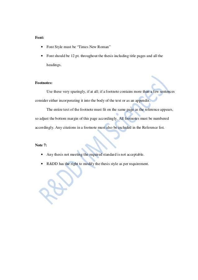 thesis standard imsciences
