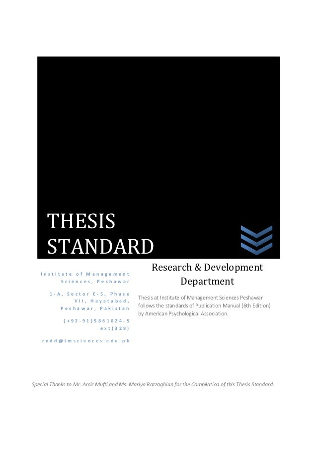 THESIS      STANDARD   Institute of Management                                                  Research & Development    ...