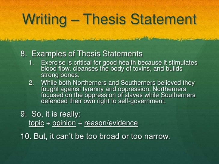 thesis statement excercises Santa barbara city college's printable guide to creating thesis statements video tutorial on thesis statement creation from oklahoma university.
