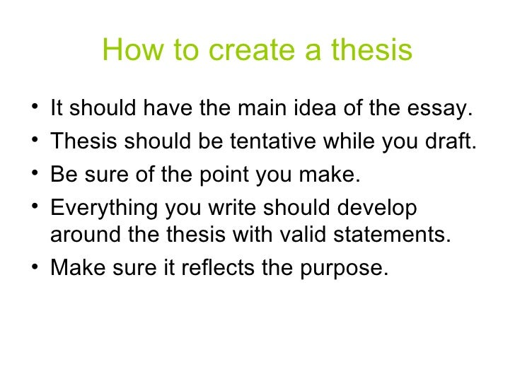 What is important to note about formulating a tentative thesis