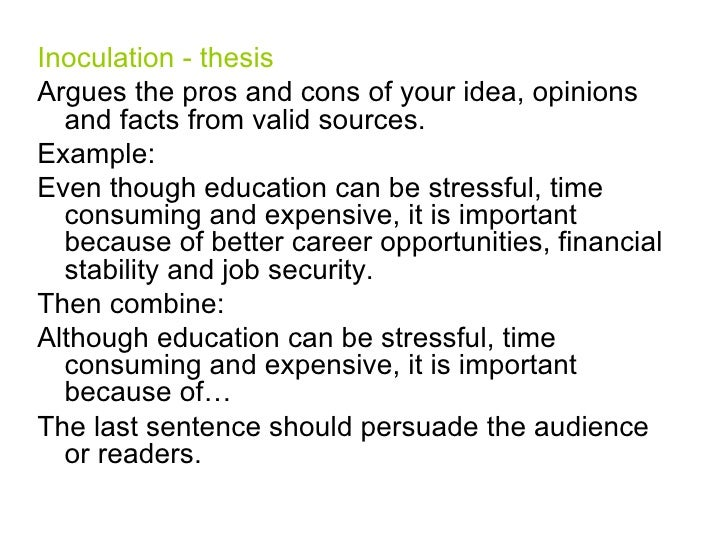 pros and cons thesis statement