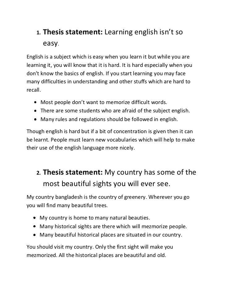 Thesis statement about english language
