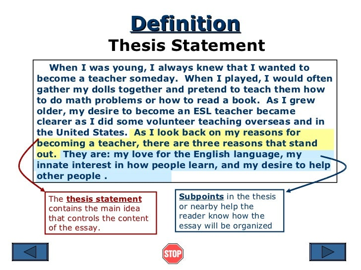 Forming the Preliminary Topic Sentence or Thesis Statement