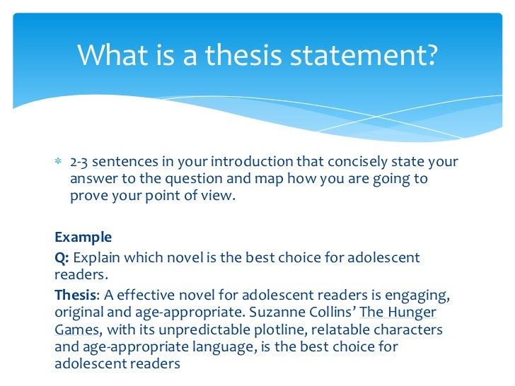 formulate a thesis statement The reason for a thesis statement is to capture the main point, idea, argument, or  central message of a  formulating a thesis statement: ○ must be clear and.