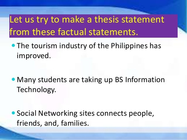 thesis statement about tourism industry