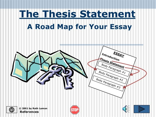 The Thesis Statement  A Road Map for Your Essay  © 2001 by Ruth Luman  References