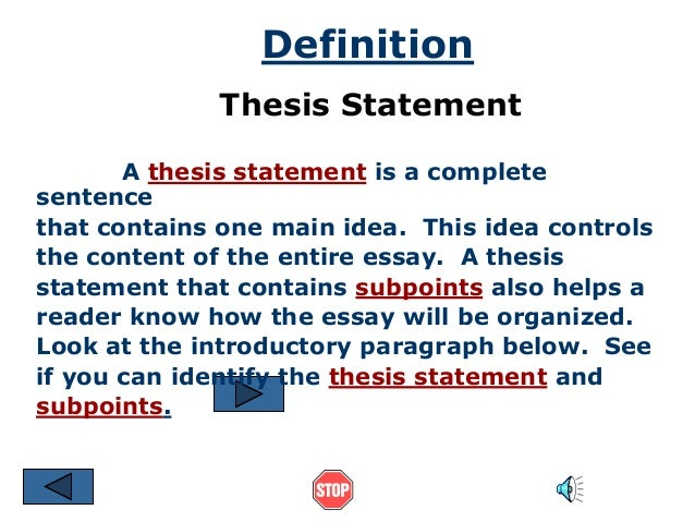 Thesis Statementppt Whats A Thesis Statement