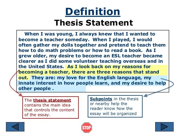 definition of thesis statement in spanish What this handout is about this handout describes what a thesis statement is, how thesis statements work in your writing, and how you can craft or refine one for your draft.