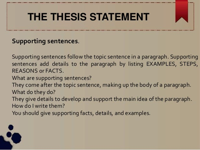 supporting the thesis A thesis statement is the single, specific claim that your essay supports a strong thesis answers the question you want to raise it does so by presenting a topic, the position you wish to.