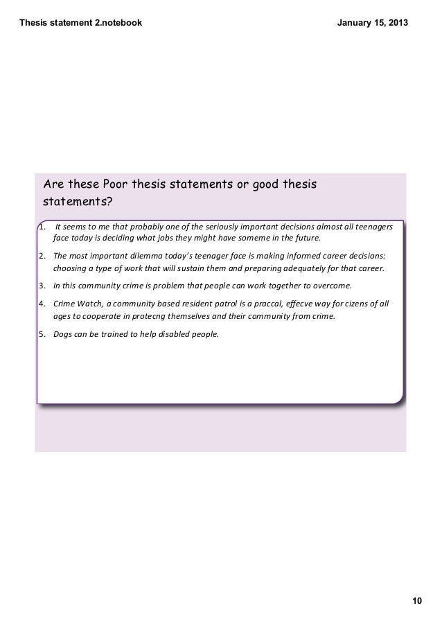 10 thesis statements