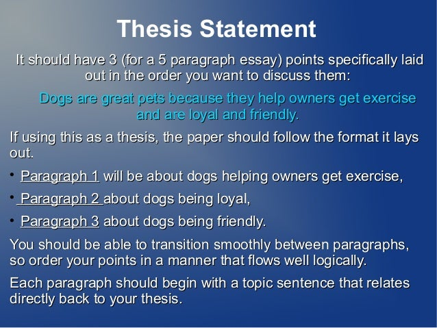thesis statement five paragraph essay thesis statement