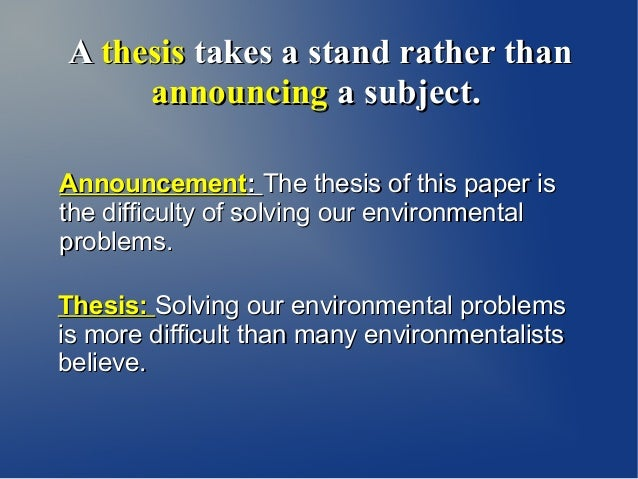 thesis statement environmental issues