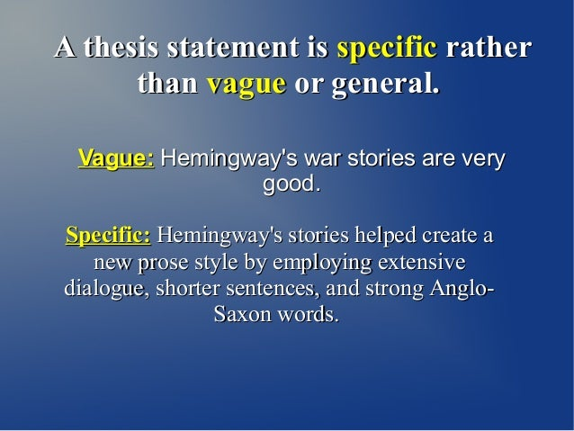 hemingway thesis statement