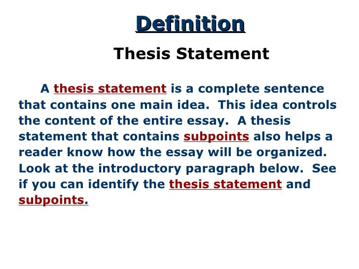 "introduction in a thesis statement An outline is a ""blueprint"" or ""plan"" for your paper (your thesis) so an introduction gives an overview of the topic and your thesis statement."