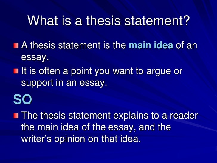 What is a thesis statement for an essay