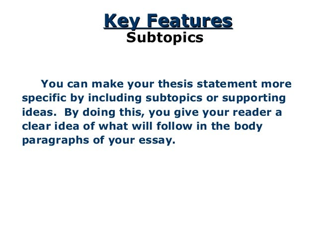 the thesis statement a road map for your essay The thesis statementthe thesis statement a road map for your essaya road map for your essay essay introduction thesis statement body paragraph #1body paragraph #2body paragraph #3 2 introductionintroduction thesis statements after you have brainstormed and you have some main ideas of what you would like to write in your essay, you can begin.