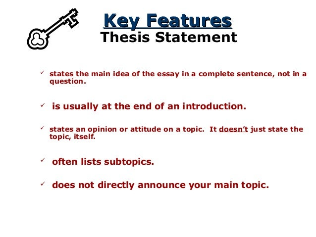 The Thesis Statement A Road Map For Your Essay Subpoints In The Thesis Or Nearby Help The Reader Know How The Essay Will  Be Organized
