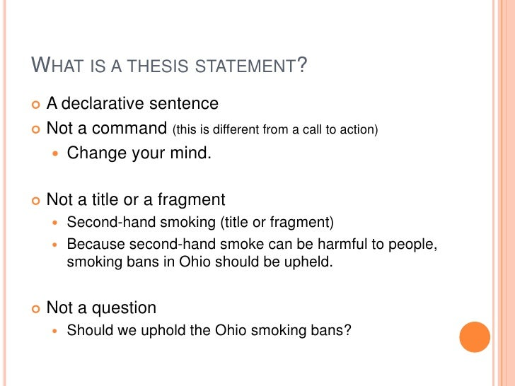 smoking ban thesis statement