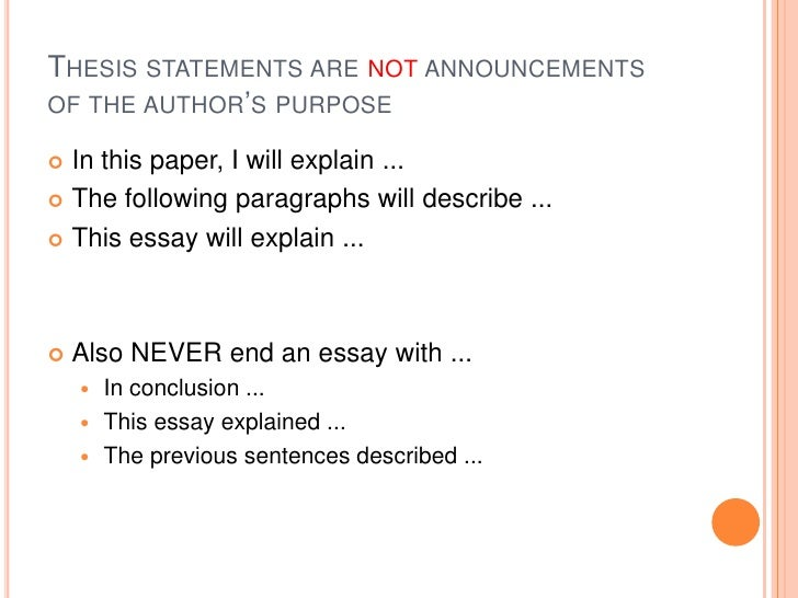 main purpose of a thesis statement
