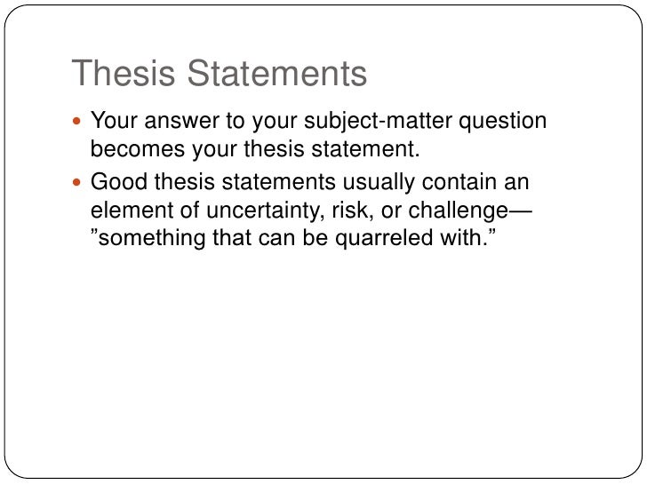 thesis statement formula The thesis formula a sound thesis consists of two parts: 1 an assertion (thesis) that is a complete idea answering a question at issue (claim) 2 complete this thesis statement to meet the five criteria.