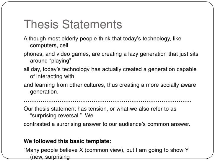 Thesis statement about modern technology