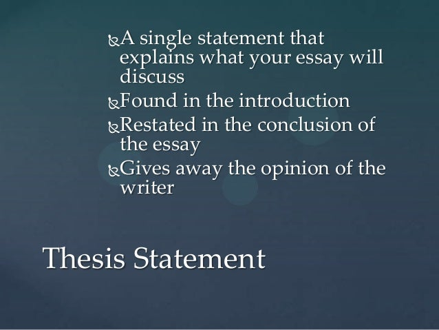 restated thesis statements A conclusion provides closure and drives main points of your essay one last time  your conclusion is about summarizing the thesis and statements.