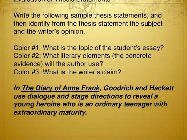 The main function of a good thesis statement is to 1 point for LLB