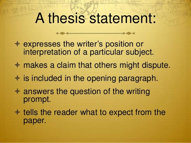 Thesis statements and sids