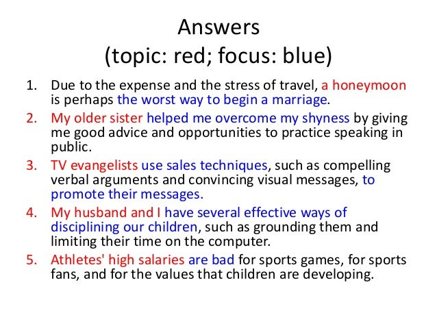 Thesis Statements: Topics And Focuses Check Your Answers! 2.