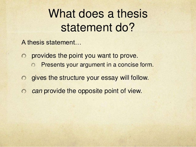 Where does the thesis statement belong in an essay