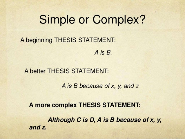 Thesis Statements Expanded Version
