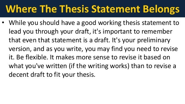 thesis statement belongs The thesis should belong in the introduction of the essay, your body paragraphs should all relate back to your thesis the thesis is basically a statement that.
