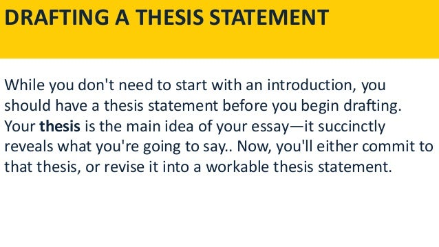 workable thesis statement A thesis statement usually appears at the middle or end of the introductory paragraph of a paper, and it offers a concise summary of the main point or claim of the essay, research paper, etc.