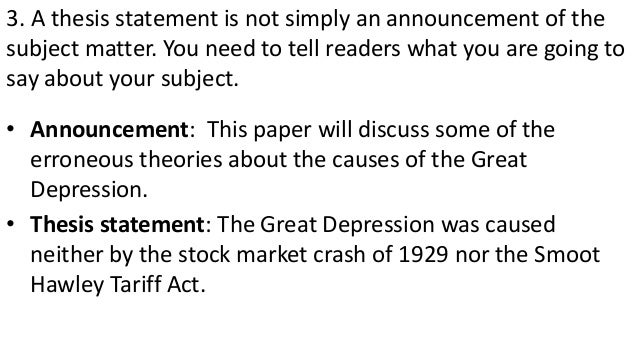 Can somebody give me a thesis statement on the great depression?