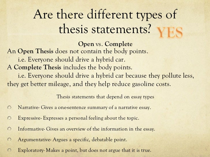5 types of thesis statements Csn - college library services college library services - get the facts writing a thesis statement what is a thesis statement a thesis statement is a sentence or.