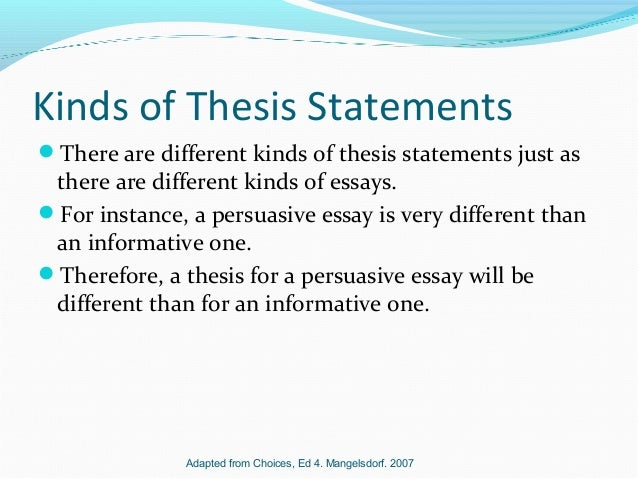 Thesis Statements Ask Yourself  Kinds Of Thesis