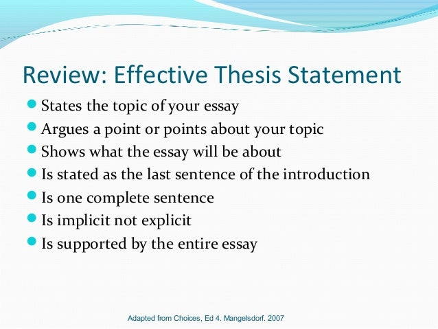 Process Essay Thesis Statement  Review Effective Thesis Statement  Example Thesis Statement Essay also Good High School Essay Examples Thesis Statements Political Science Essay Topics