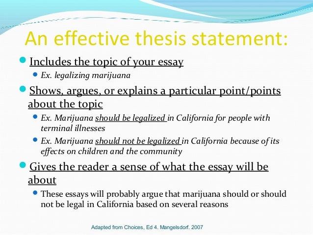 thesis statements 4 an effective thesis statement includes the topic