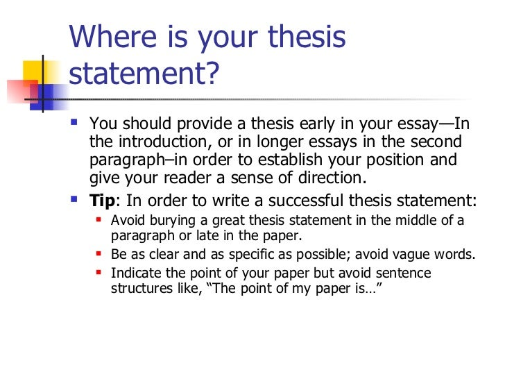 Are the thesis statement and blueprint one statement