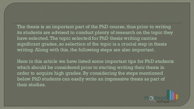 Phd thesis tips