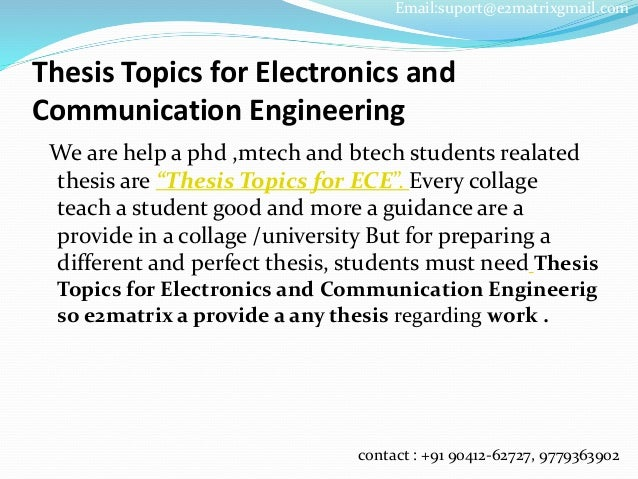 m tech thesis in electronics and communication