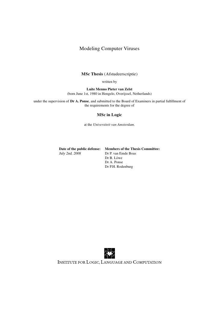 Modeling Computer Viruses                                    MSc Thesis (Afstudeerscriptie)                               ...