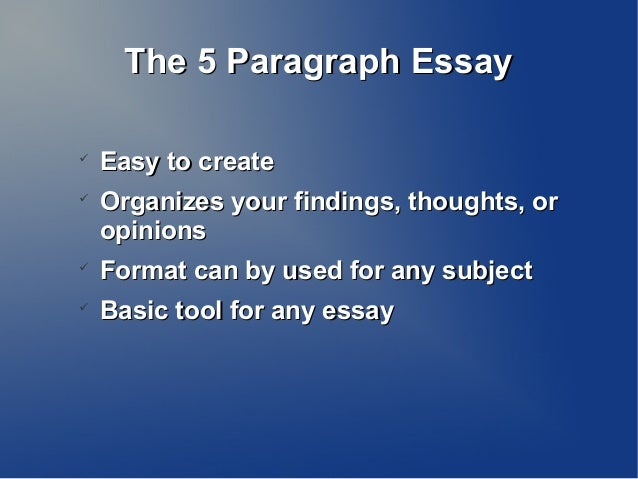 The 5 Paragraph EssayThe 5 Paragraph EssayEasy to createEasy to createOrganizes your findings, thoughts, orOrganizes you...