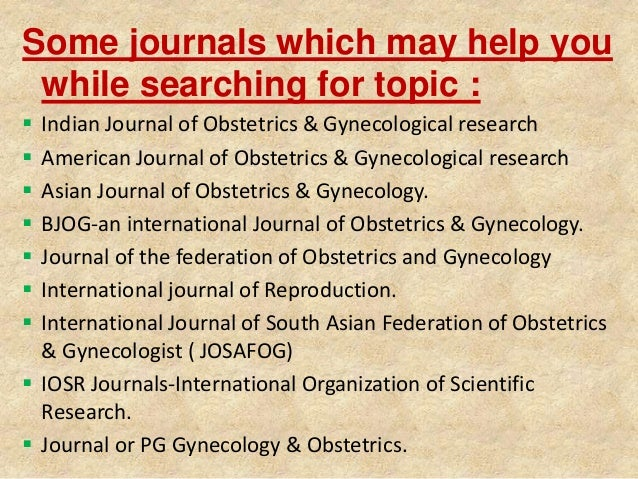 thesis topics in obs gynae
