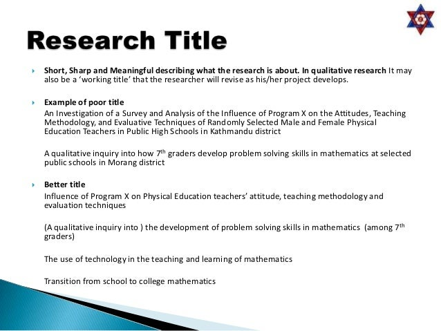 Sample Thesis Titles