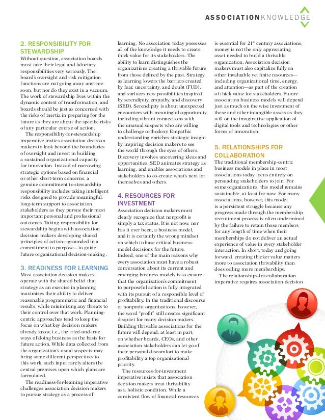 5associationIMPACT < Issue 3 > 2014   2. Responsibility for stewardship Without question, association boards must take t...